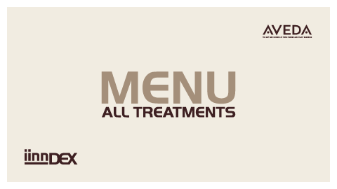 iinn sustainable beauty menu iinndex hair treatments body treatments iinnbetween pricelist amsterdam aveda